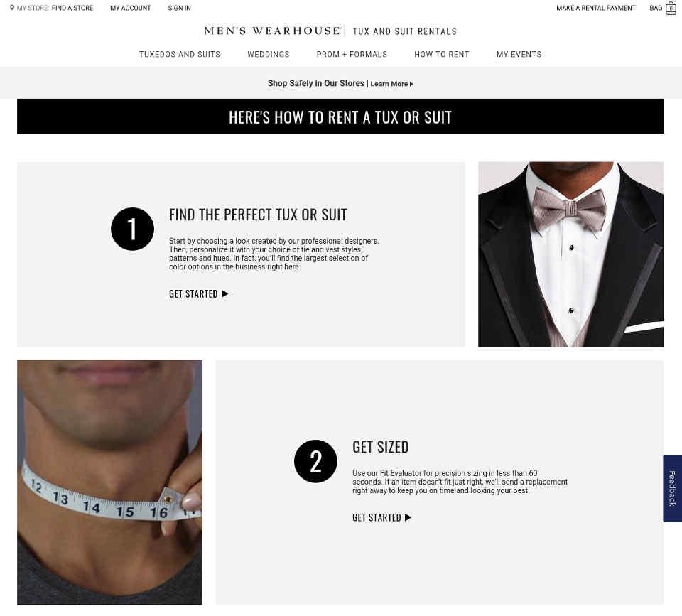 Men's Wearhouse tuxedo rentals