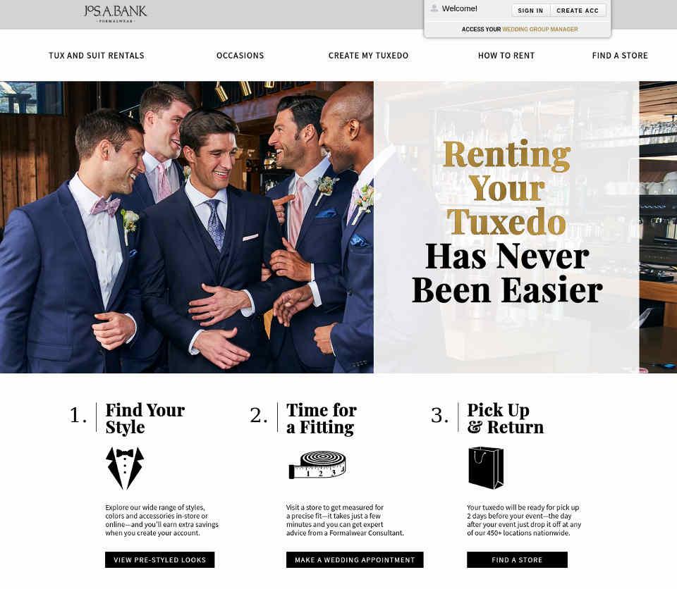 JoS. A. Bank tuxedo rentals