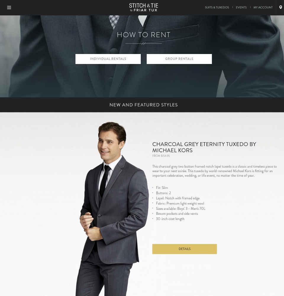 Stitch & Tie tuxedo rentals