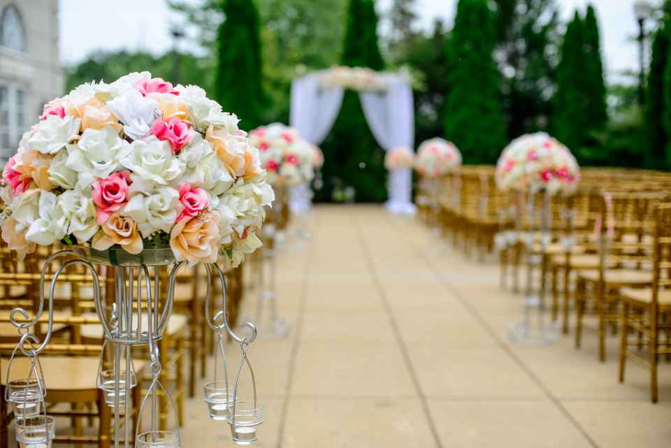 Different varieties of flowers are used in a wedding